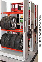Mobile shelving high density system in storage room