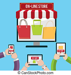 Human hands set holding mobile phones and tablet computer shopping concept vector illustration