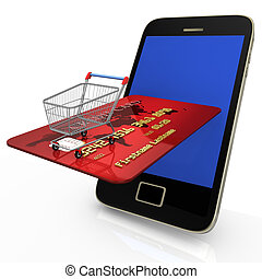 Mobile Shopping Credit Card - Smartphone with shopping cart...