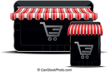 mobile shopping - detailed illustration of a tablet mobile...