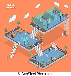 Mobile shopping flat isometric vector concept. People walk...