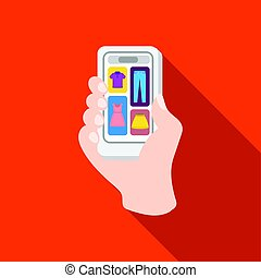 Mobile shopping online icon in flat style isolated on white background. E-commerce symbol stock vector illustration.
