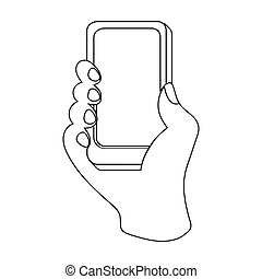 Mobile shopping online icon in outline style isolated on white background. E-commerce symbol stock vector illustration.
