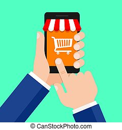 Mobile shopping, online store, e-commerce concepts.