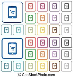 Mobile shopping outlined flat color icons