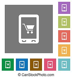Mobile shopping square flat icons