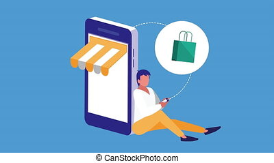 mobile shopping technology animation with man using smartphone