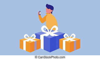mobile shopping technology animation with man using smartphone and gifts