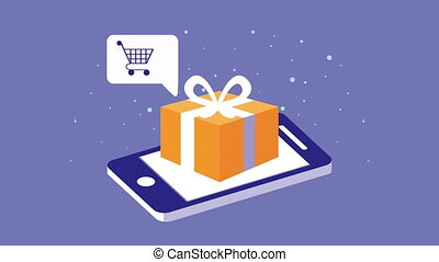 mobile shopping technology animation with smartphone and gift ,4k video animated