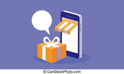 mobile shopping technology animation with smartphone and giftbox ,4k video animated