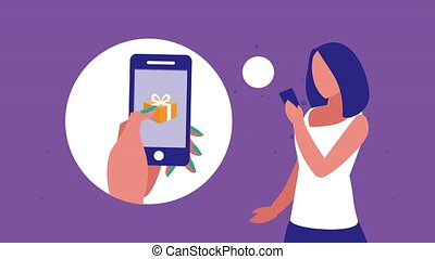 mobile shopping technology animation with woman buying with smartphone ,4k video animated