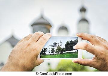 Mobile shot of pilgrimage church Maria Birnbaum in Germany, Bavaria