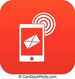 mobile, signe, numérique, courrier, rouges, icône