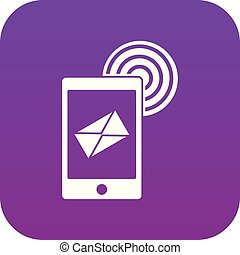 mobile, signe, pourpre, numérique, courrier, icône