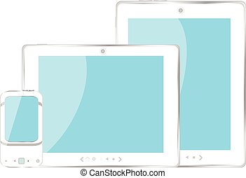 mobile smart phone and digital tablet pc set with blue screen vector illustration