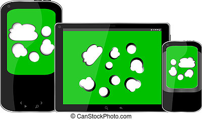 mobile smart phone and digital tablet pc with cloud on the screen