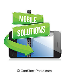 mobile smart phone. Mobile solutions sign