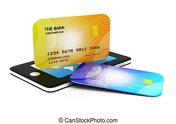 Mobile smart phone with credit card