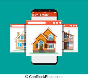 Mobile smart phone with real estate app - Mobile smart phone...