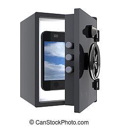 mobile smartphone protected in a safe, 3d illustration
