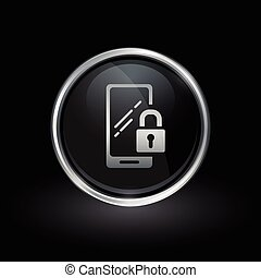 Mobile smartphone security icon inside round silver and black emblem