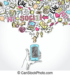 Mobile smartphone social media applications - Doodle hand ...