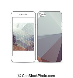Mobile smartphone with an example of the screen and cover design isolated on white. Abstract colorful polygonal background, modern stylish triangle vector texture