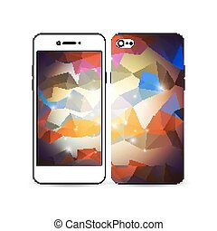 Mobile smartphone with an example of the screen and cover design isolated on white background. Abstract colorful polygonal background, modern stylish triangle vector texture