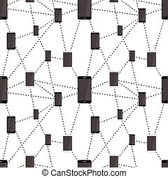 Mobile smartphones black and white colors connected in network, seamless pattern