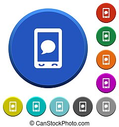 Mobile sms message beveled buttons