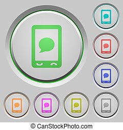 Mobile sms message push buttons