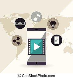 mobile social media flat icons