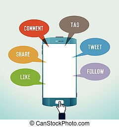 Mobile Social Media - Vector illustration of mobile social...