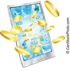 mobile, soldi, concetto, telefono