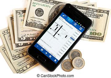 mobile, soldi,  forex, Commercio, telefono