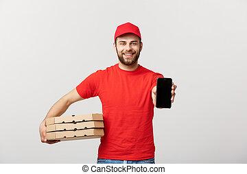 mobile, sopra, consegna, fondo., scatole, presa a terra, bianco, uomo, pizza