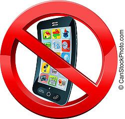 mobile, spegnere, telefonare, segno