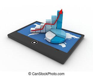 mobile, statistica, concetto, finanza