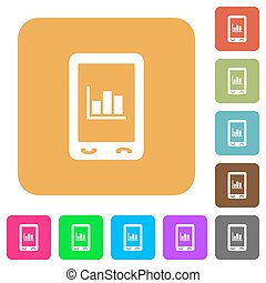 Mobile statistics rounded square flat icons