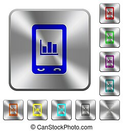Mobile statistics rounded square steel buttons