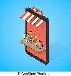 Mobile supermarket internet commerce concept. Bicycle rental...