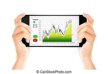 mobile, sur, diagramme, isolé, téléphone, tenant mains, marché, stockage