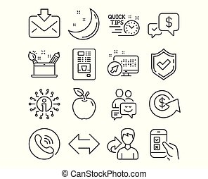 Mobile survey, Creativity concept and Dollar exchange icons. Vector