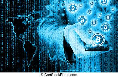 mobile, symbole, bitcoin, main, téléphone, intelligent