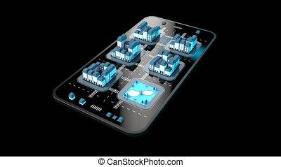 mobile, -, téléphone, animation, 4k, 3d