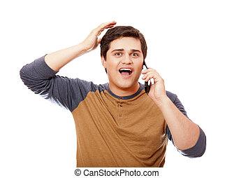 mobile, téléphone., homme