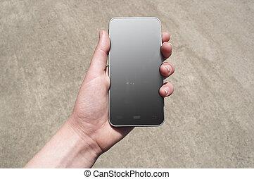 mobile, téléphone., main