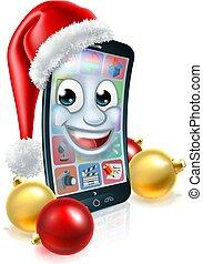 mobile, téléphone portable, santa chapeau, noël, mascotte