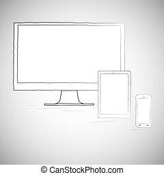 mobile, tablette, appareils, ordinateur portable, téléphone, électronique