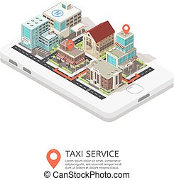 Mobile Taxi Service Isometric Design